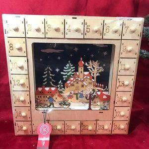 DIE-CUT Wooden Holiday Advent Calendar Village